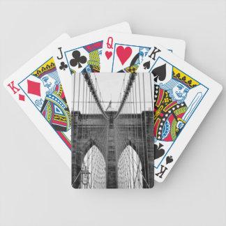 Black White Brooklyn Bridge New York Bicycle Playing Cards