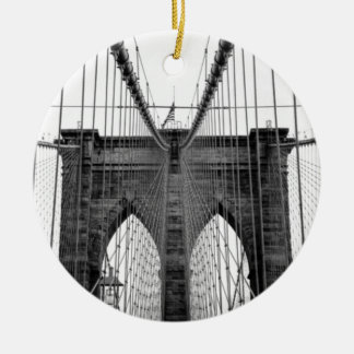 Black White Brooklyn Bridge New York Ceramic Ornament