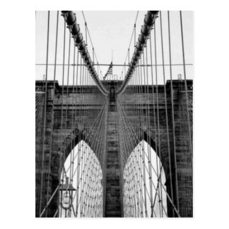 Black White Brooklyn Bridge New York Postcard