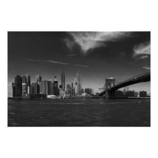 Black White Brooklyn Bridge New York Poster