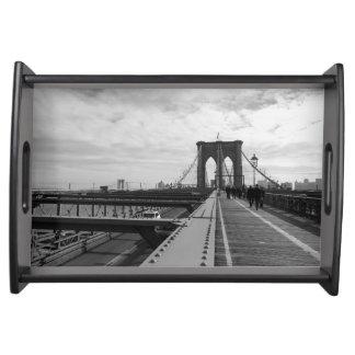 Black White Brooklyn Bridge - NY New York nr 1 Serving Trays