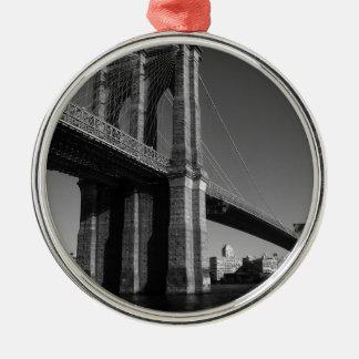 Black & White Brooklyn Bridge Round Metal Christmas Ornament