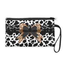 Black White & Brown Faux Animal Print Bow & Lace Wristlet Purse