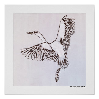 Black white brown heron bird flying fine art gift poster