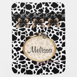 Black White & Brown Leopard Bows Baby Blanket