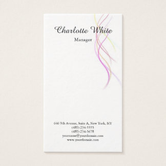 Black White Brush Script Abstract Curves Modern Business Card