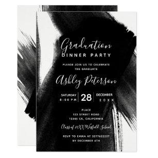 Black and white graduation invitations zazzle black white brushstrokes typography graduation invitation filmwisefo
