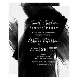 Black white brushstrokes typography Sweet 16 Card