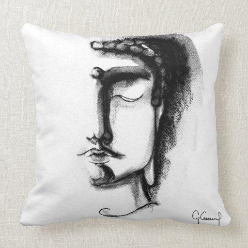 BLACK & WHITE BUDDHA FACES Throw Pillow 20