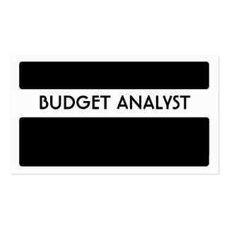 Black white Budget Analyst business cards