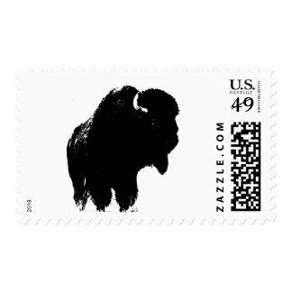Black White Buffalo Bison Silhouette Postage Stamp