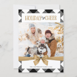Black & White Buffalo Check Brown Kraft CHEER Holiday Card