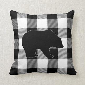 black white buffalo check lumberjack plaid bear throw pillow