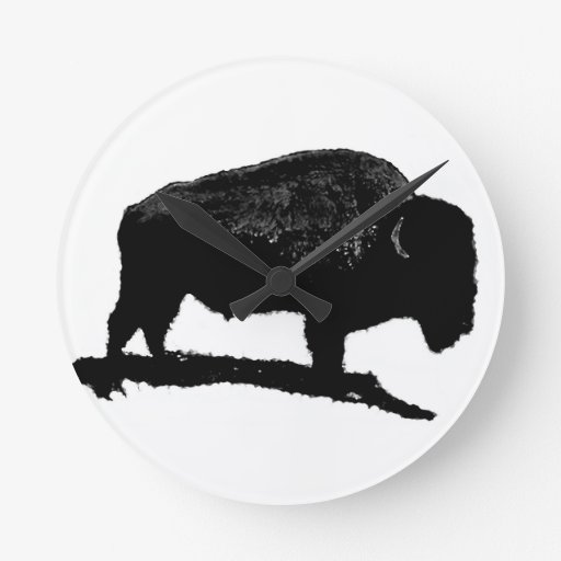 Black & White Buffalo Wall Clock