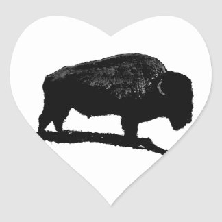 Black & White Buffalo Heart Sticker