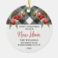 Black & White Buffalo Plaid New Home Housewarming Ceramic Ornament