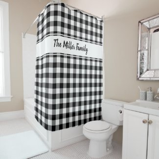 Black White Buffalo Plaid Pattern with Custom Name Shower Curtain