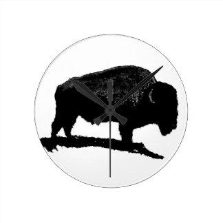 Black & White Buffalo Round Clock