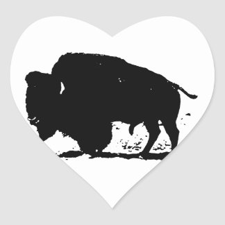 Black & White Buffalo Silhouette Heart Sticker