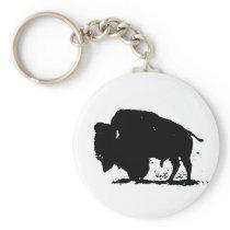 Black & White Buffalo Silhouette Keychain