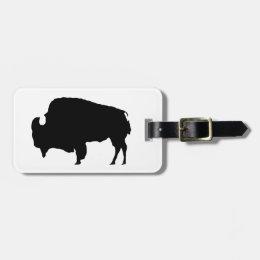 Black & White Buffalo Silhouette Luggage Tag