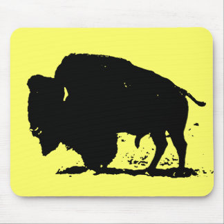 Black & White Buffalo Silhouette Mouse Pad