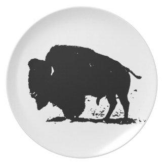 Black & White Buffalo Silhouette Plate