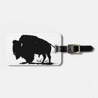 Black & White Buffalo Silhouette Tag For Luggage