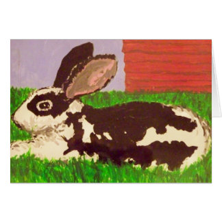 Black & White Bunny Painting on Greeting Card