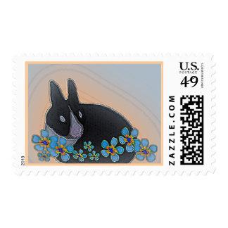 Black/white bunny w blue flowers postage