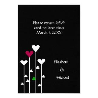 Black, White Burgundy Heart Flowers Casual Wedding Card