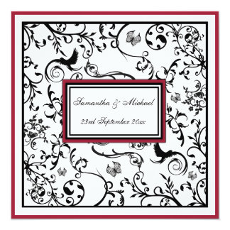 "Black, White & Burgundy Swirls Wedding Invite 5.25"" Square Invitation Card"