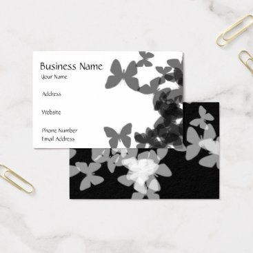 """Professional Business """"Black & White Butterflies"""" Business Card"""