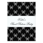Black White Butterfly Classy Sweet Sixteen Party Invites