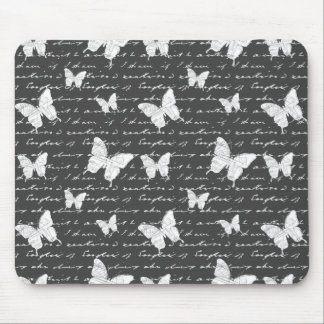 Black & White Butterfly Dreams Mouse Pad