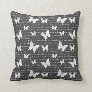 Black & White Butterfly Dreams Throw Pillow