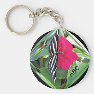 Black/White Butterfly in Clear Sphere Keychain