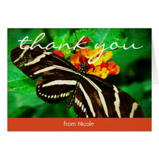 Black white butterfly photo custom name thank you card