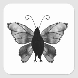 Black & White Butterfly Raven Square Sticker