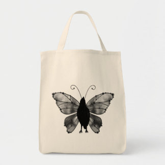 Black & White Butterfly Raven Tote Bag