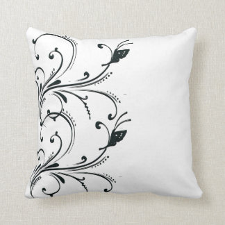 Black White butterfly Scroll American MoJo Pillows