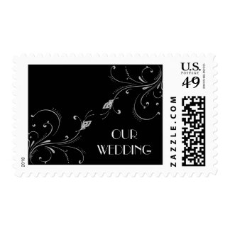 Black & white Butterfly Scroll Postage Stamps