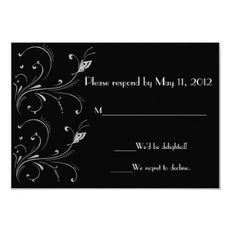 Black & White Butterfly Scroll RSVP Card