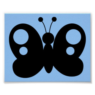 BLACK WHITE BUTTERFLY SHAPE CARTOON VECTOR GRAPHIC POSTER