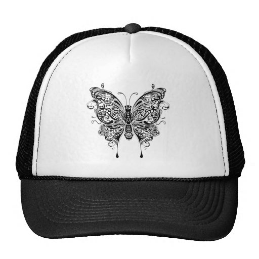 Black & White Butterfly-Tattoo Style Hat