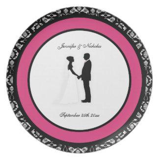 Black, White & Cabaret Pink Damask Wedding Plate