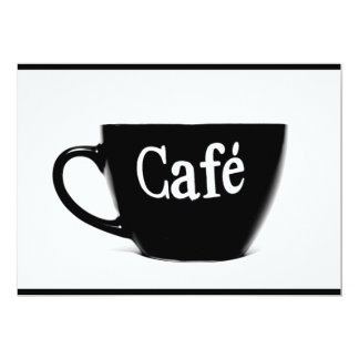 BLACK WHITE CAFE COFFEE MUG MORNING BEVERAGE LOGO CARD