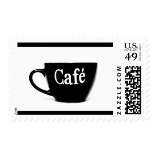 BLACK WHITE CAFE COFFEE MUG MORNING BEVERAGE LOGO POSTAGE