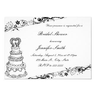 Black & White Cake Bridal Shower Invitations