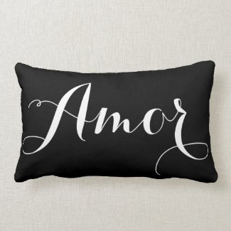 Black & White Calligraphy Amor Pillow